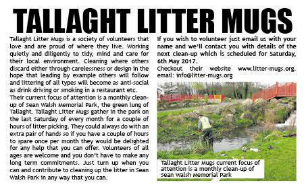 Tallaght News article about the Tallaght Litter Mugs in April 2017