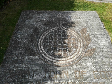 Mosaic in Sean Walsh Park before clean up