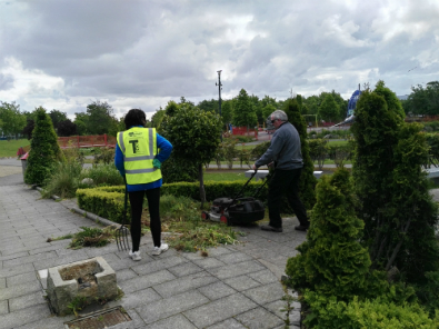 The Litter Mug team cleaning up the Sensory Garden in Tallaght